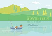 Man sleeping on a fishing boat in nature flat vector.