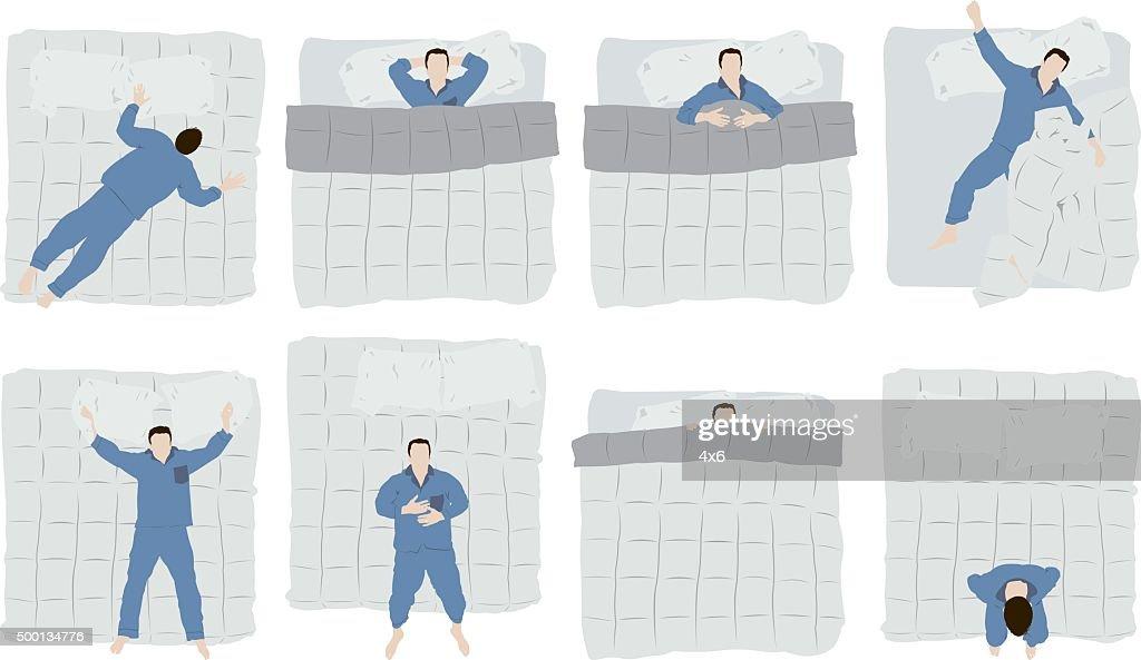 Man sleeping on bed : stock illustration