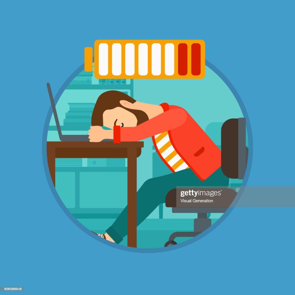 Man sleeping on workplace