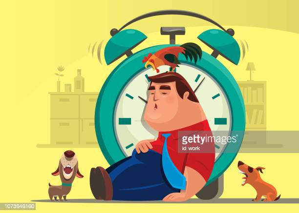 man sleeping with crowing rooster and barking dogs - animal call stock illustrations