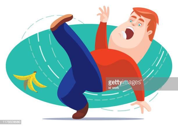 man slipping with banana peel - run down stock illustrations