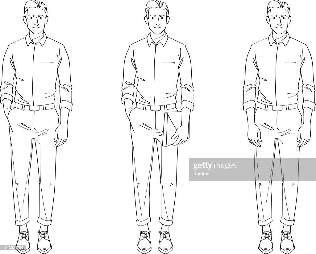 Man Smart Casual Line Drawing Illustration
