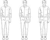 Man Smart Casual Line Drawing Illustration