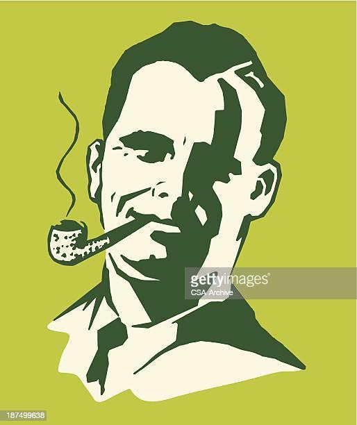 man smoking a pipe - bong stock illustrations