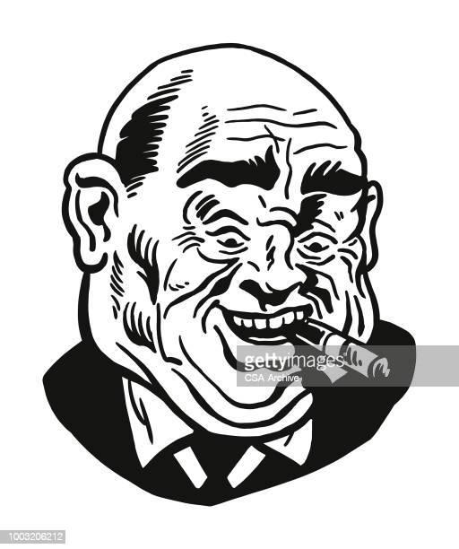 man smoking cigar - ugly bald man stock illustrations