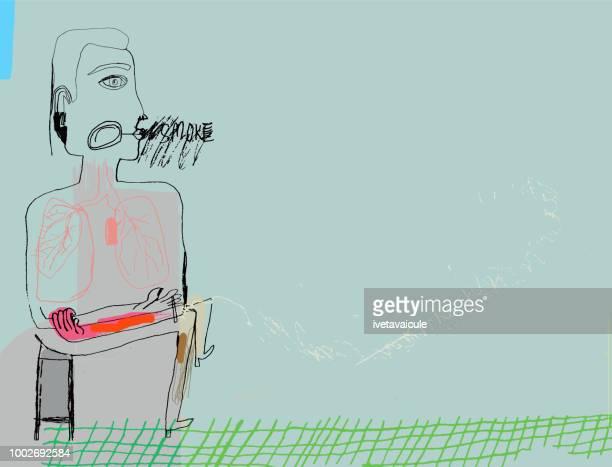 man smoking cigarette - smoking issues stock illustrations, clip art, cartoons, & icons