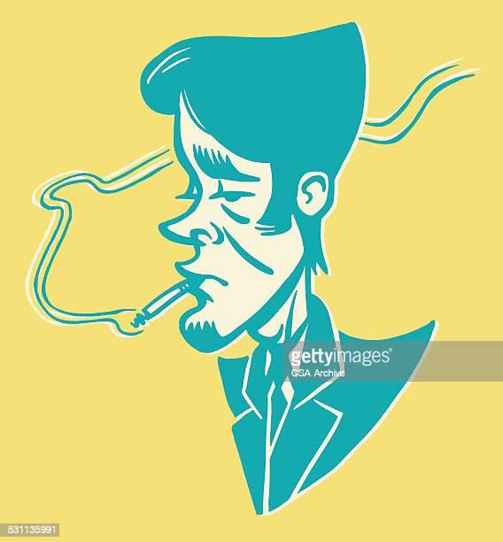 man smoking - goatee stock illustrations