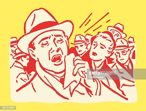 man sneezing in crowd - sneezing stock illustrations, clip art, cartoons, & icons