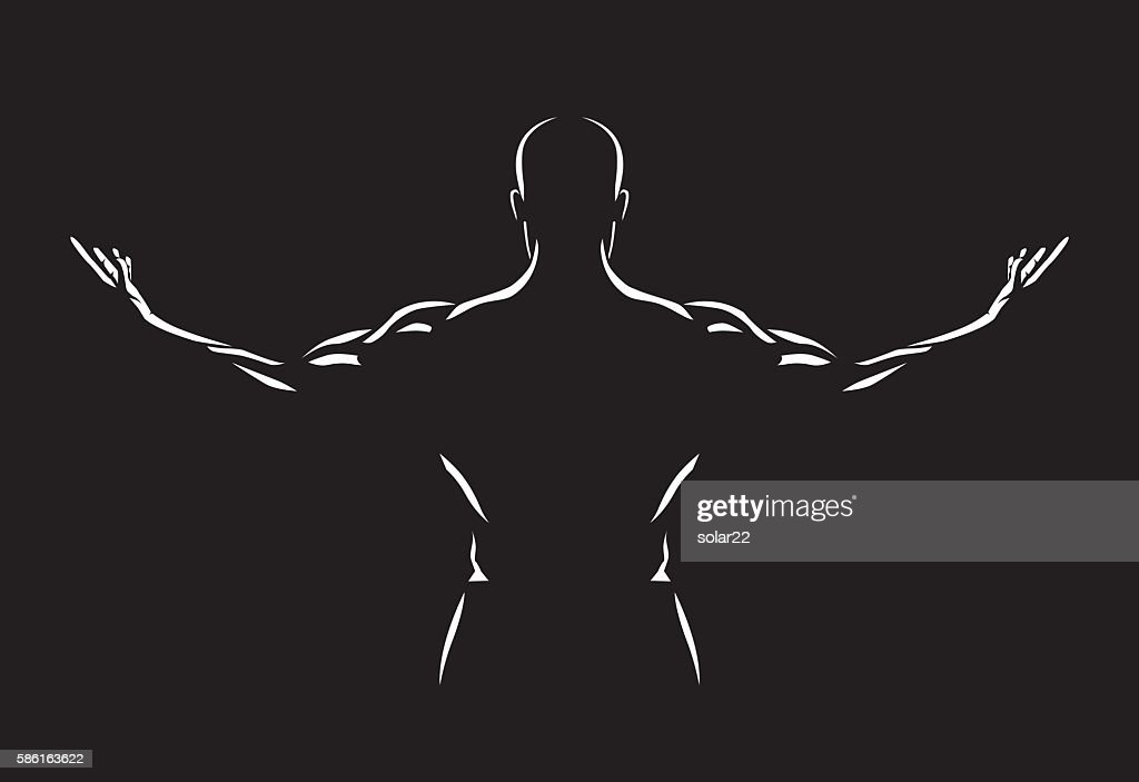 Man spreading out arms for show back muscles