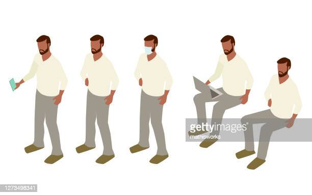 man standing and sitting illustration - mathisworks stock illustrations