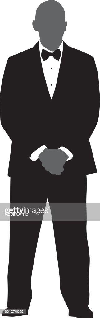 Man Standing In Tuxedo Silhouette : stock illustration