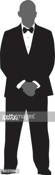 Man Standing In Tuxedo Silhouette