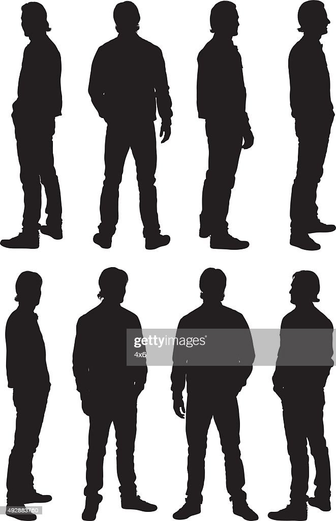 Man standing in various poses