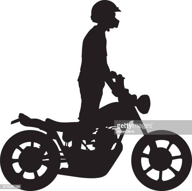 man standing motorcycle silhouette - motorcycle rider stock illustrations, clip art, cartoons, & icons