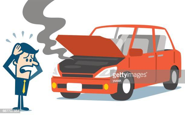 man standing near a broken car. - broken stock illustrations, clip art, cartoons, & icons