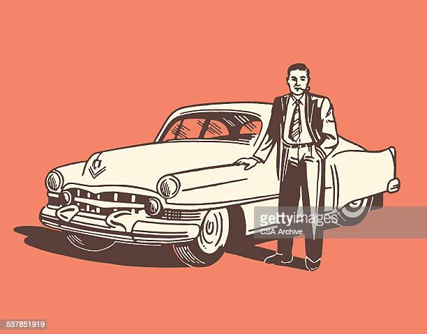 man standing next to car - next stock illustrations
