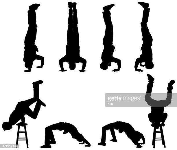 man standing on his head and doing handstands - dipping stock illustrations, clip art, cartoons, & icons