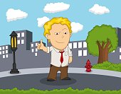 Man standing on the street give thumbs up cartoon