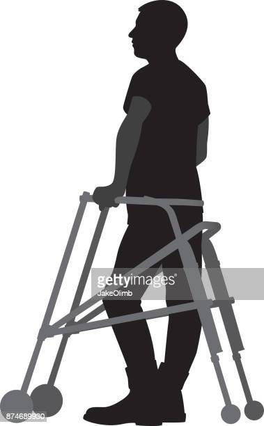 Man Standing with Walker Silhouette