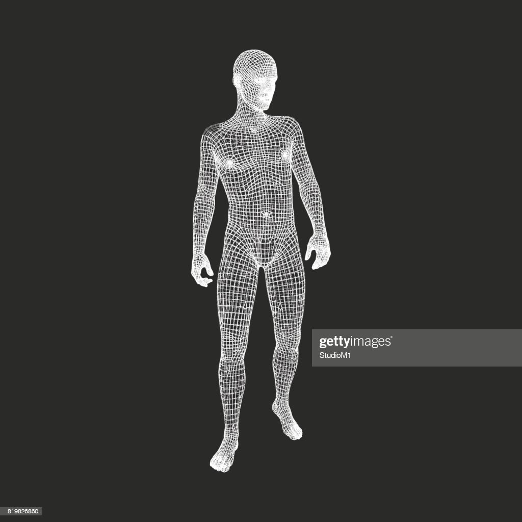 Man Stands on his Feet.3D Model of Man. Geometric Design. 3d Polygonal Covering Skin. Vector Illustration.