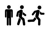 Man stands, walk and run icon set. Vector illustration
