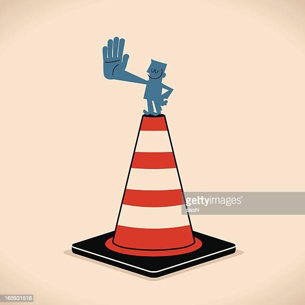illustrations, cliparts, dessins animés et icônes de homme panneau stop avec cône de signalisation - panneau stop