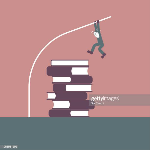 a man straddles the overlapping books use pole vault. - men's field event stock illustrations