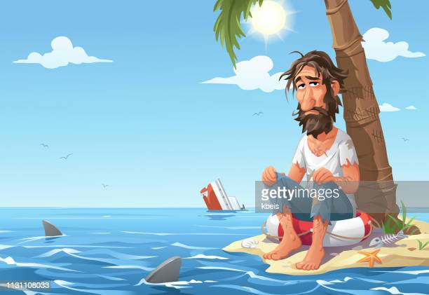 man stranded on desert island - head above water stock illustrations