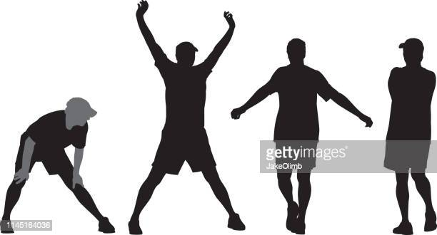 man stretching silhouette - sportsperson stock illustrations