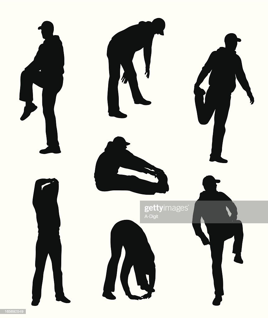 Man Stretching Vector Silhouette : stock illustration