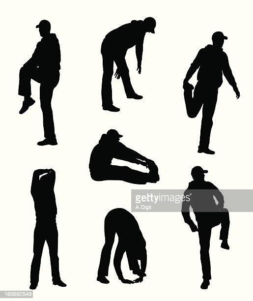 man stretching vector silhouette - touching toes stock illustrations, clip art, cartoons, & icons
