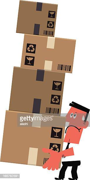 man struggling to lift a pile of boxes - occupational safety and health stock illustrations, clip art, cartoons, & icons