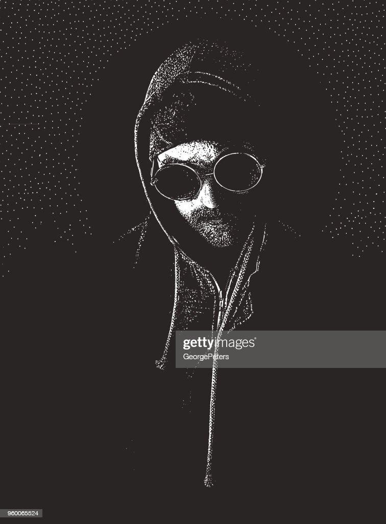 Mann leidet unter Depressionen und Angstzuständen : Stock-Illustration