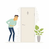 Man suffering from diarrhea - cartoon people characters isolated illustration
