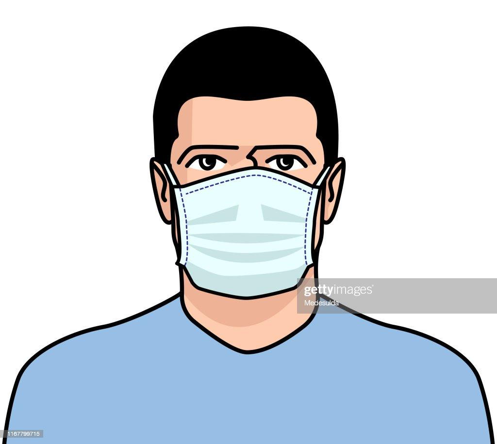 男性外科マスクフェイス : ストックイラストレーション