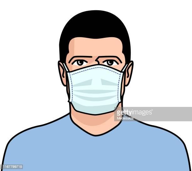 男性外科マスクフェイス - マスク点のイラスト素材/クリップアート素材/マンガ素材/アイコン素材