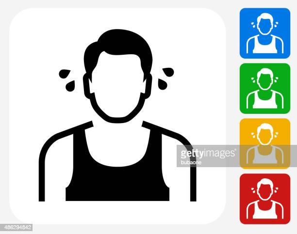 Man Sweating Icon Flat Graphic Design