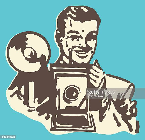man taking photographs - cinematographer stock illustrations, clip art, cartoons, & icons