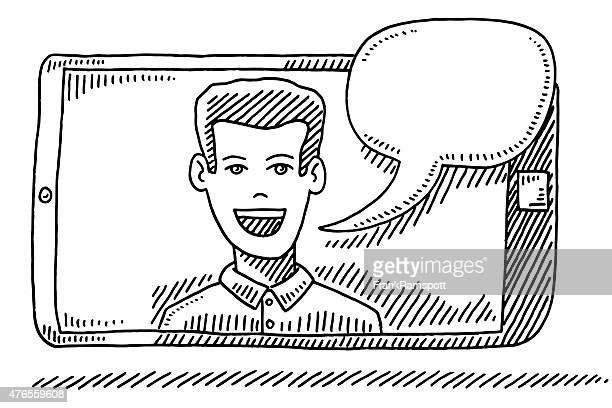 スマート携帯電話で話している男性画面の描出 - ビデオ通話点のイラスト素材/クリップアート素材/マンガ素材/アイコン素材