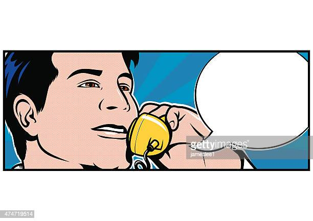 man talking on telephone - pop art stock illustrations