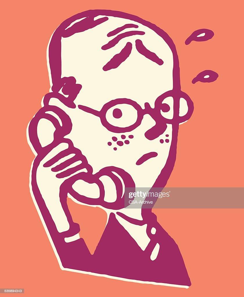 Mann spricht am Telefon : Vektorgrafik