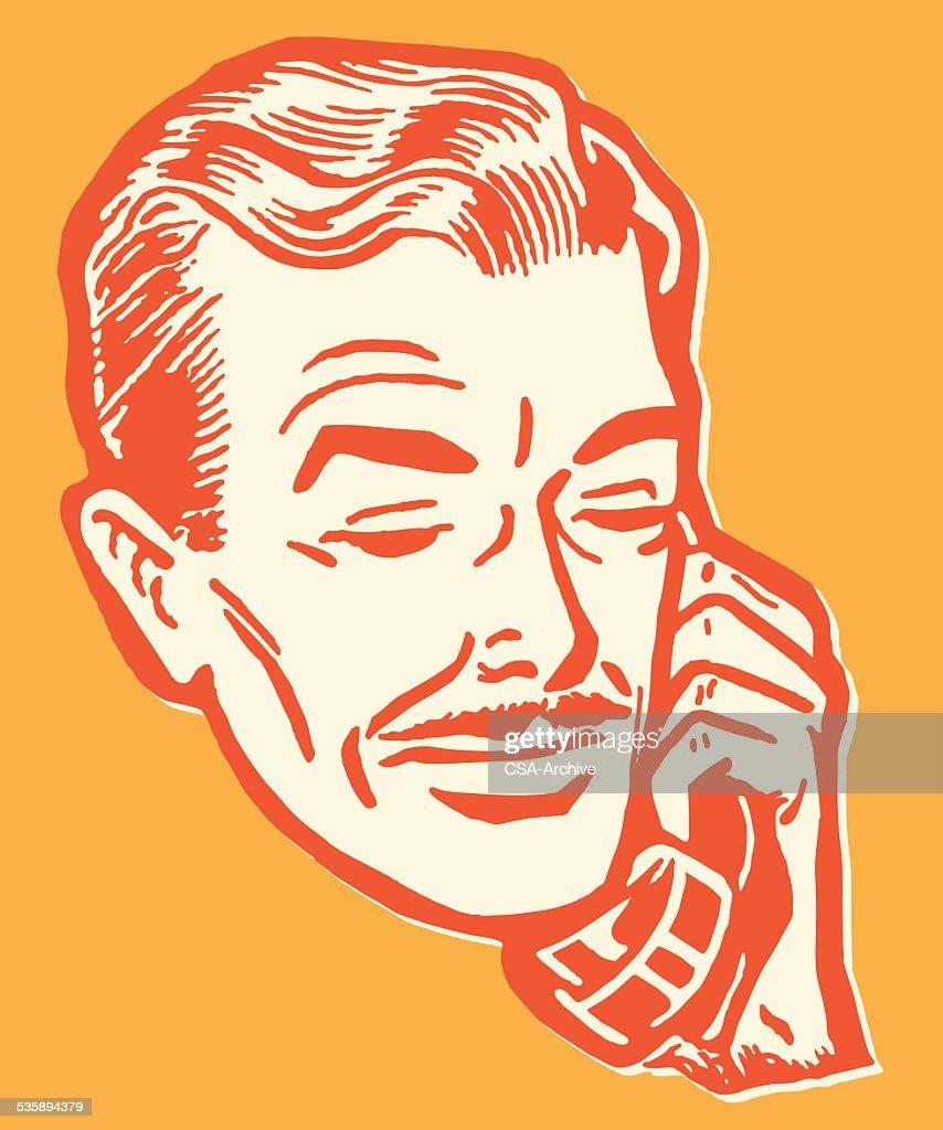 Un homme parle au téléphone : Clipart vectoriel