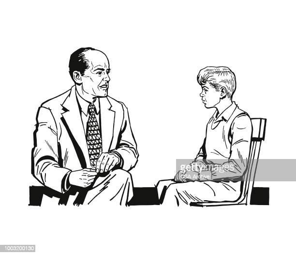 man talking to a boy - mental health professional stock illustrations