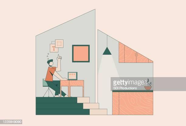 illustrations, cliparts, dessins animés et icônes de homme télétravaillant de la maison - vie simple