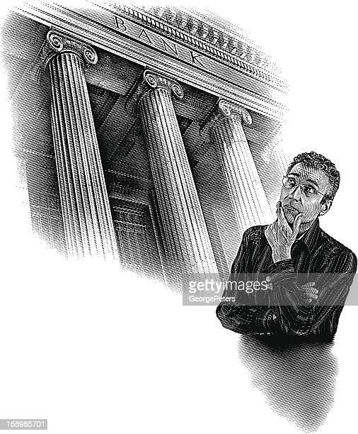 ilustrações, clipart, desenhos animados e ícones de homem a pensar em dinheiro - coluna arquitetônica