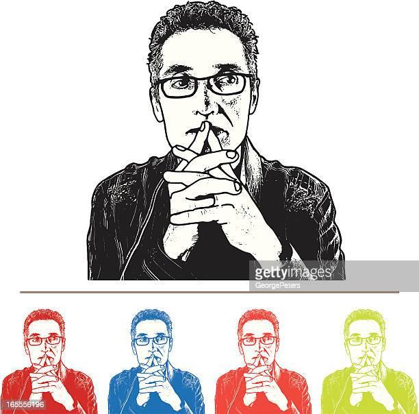 man thinking - horn rimmed glasses stock illustrations, clip art, cartoons, & icons