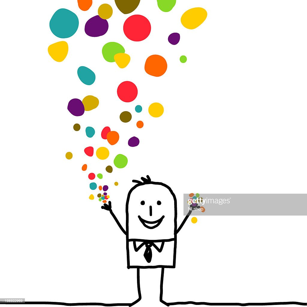 man throwing color confetti