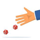 Man throws dice