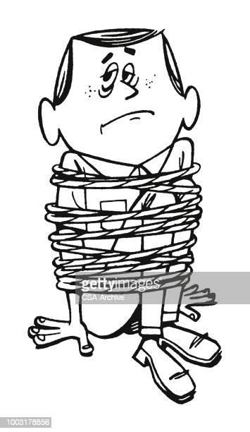 Mann mit einem Seil gefesselt