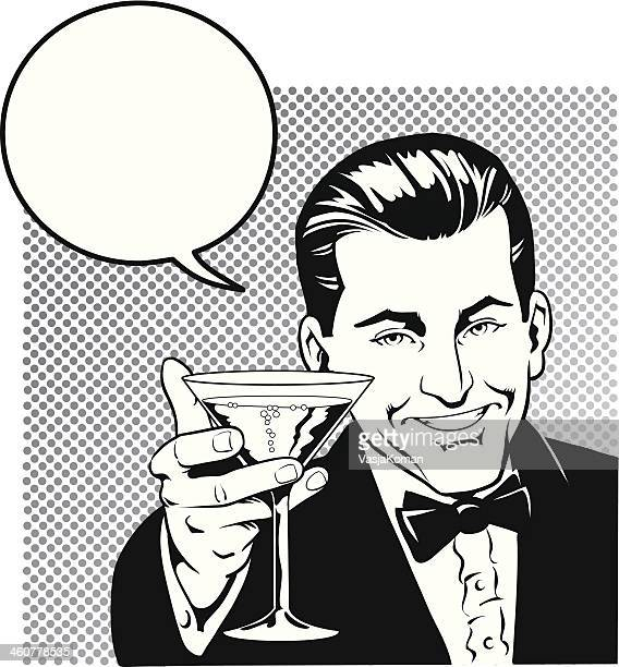 Man Toasting With Speech Balloon